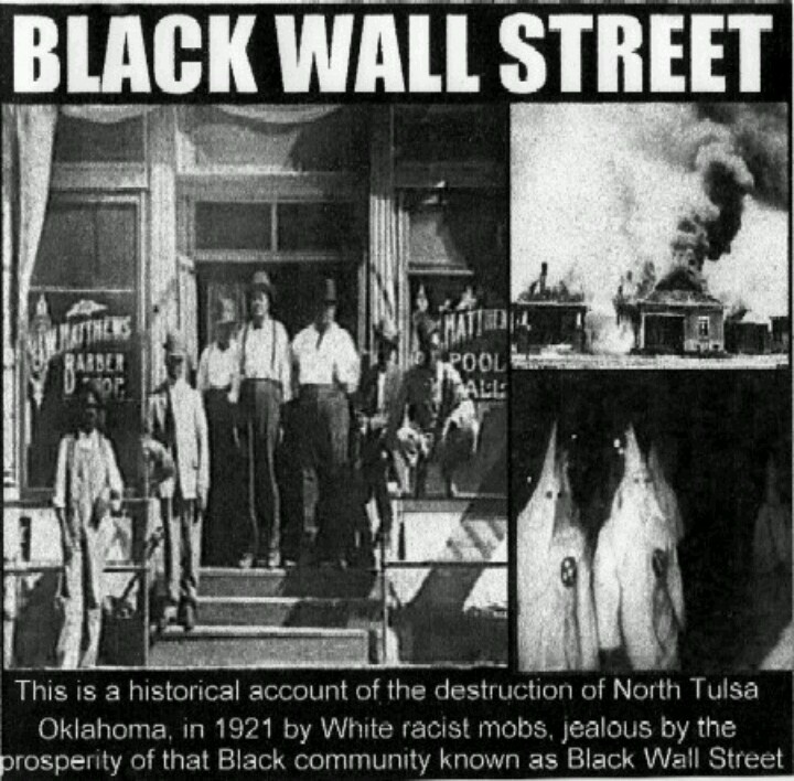 the reparations for the black wall street of tulsa Smoke billowing over tulsa, oklahoma during 1921 race riots  in 1921, tulsa,  oklahoma's greenwood district, known as black wall street, was one  their  families ever received the reparations suggested by the tulsa race.