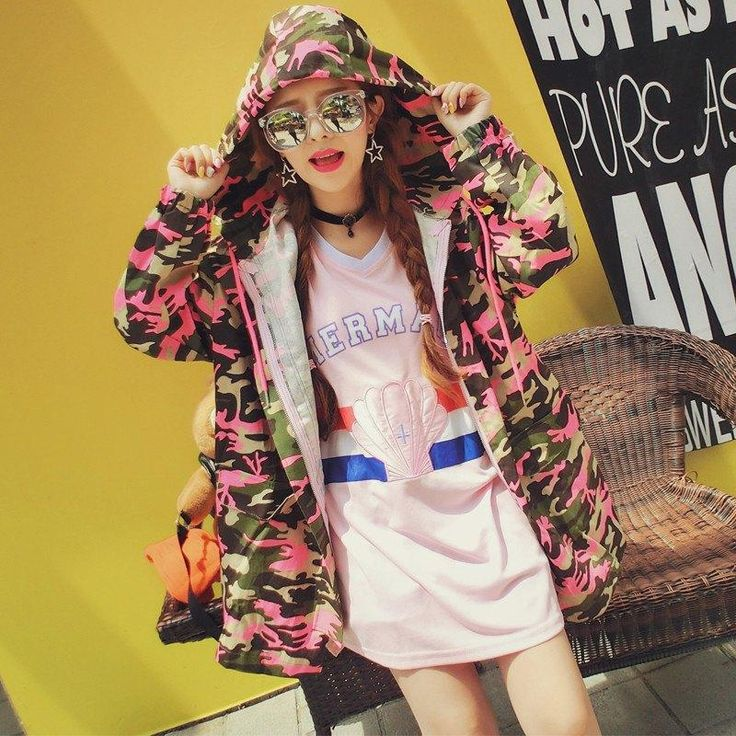 Pink Camouflage Hooded Denim Jacket SD01157