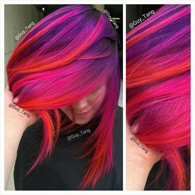 Balayage fashion colors using violet, neon pink, magenta, red and orange