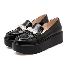 Plate-forme Chaussures Femme En Cuir Véritable Occasionnels Femmes Chaussures Strass Creepers Mode Mocassins Plate-Forme Des Femmes Appartements Dames Chaussures(China (Mainland))