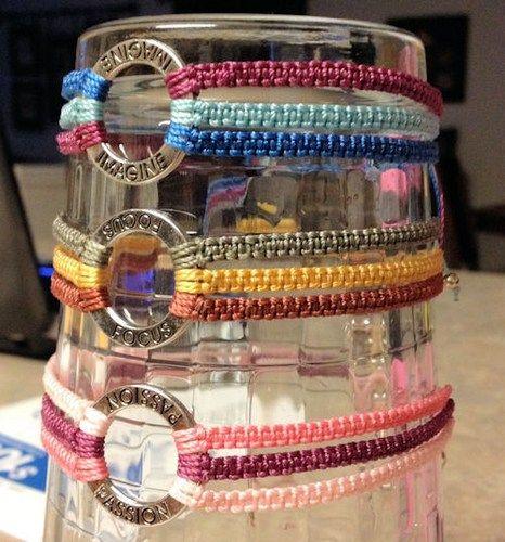 Macrame knotted bracelet with metal donut word HONESTY 306 | artbysunfire - Jewelry on ArtFire