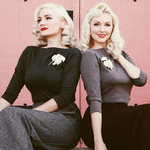 The beautiful ladies from @thepinkcollarlife wearing our slash neck tops and 40s swing trousers. Lots of our slash neck tops have just been restocked with more to follow. #vivienofholloway  #1940s #vintagegirl #vintagestyle #pinup #1940strousers #slashnecktop #madeinlondon