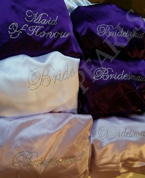 SHIPPED IN 48HRS Set of 7 or 8 Rhinestone Personalized Satin Bride Bridesmaid Robes wedding Gift dressing Gown Bridal Party Coral Blush.