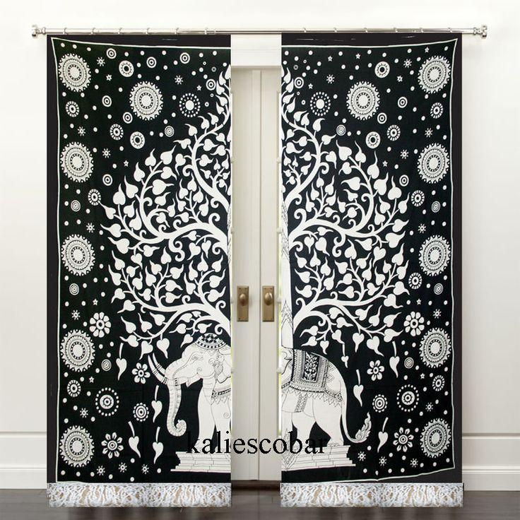 Elephant Mandala Curtains Drapes Window Treatment Bohemian Valance With Tassel #Unbranded #Traditional