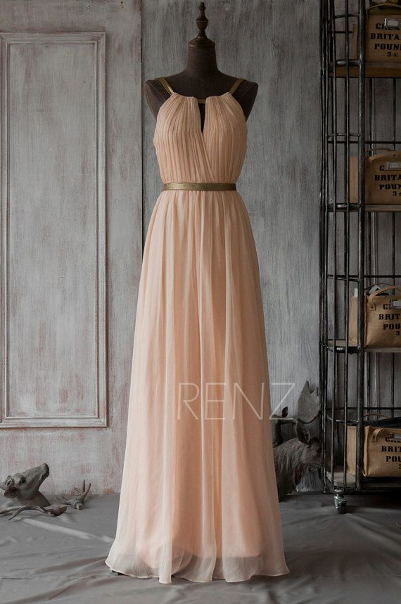 2016 Long Bridesmaid Dress Peach Prom Dress Chiffon von RenzRags