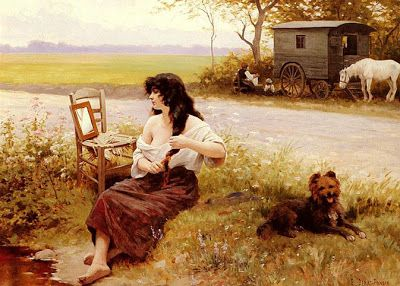 """""""Gypsy in her Toilette"""" by Édouard Debat Ponsan, French realistic painter (1847-1913)."""