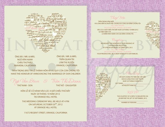 Printable Bilingual Vietnamese Wedding Invitation Set Invitation