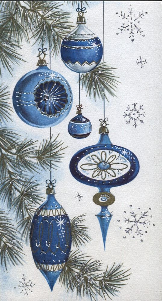 Vintage Christmas Card: Old-Fashioned Indented Ornaments - Blue/Silver Highlight: