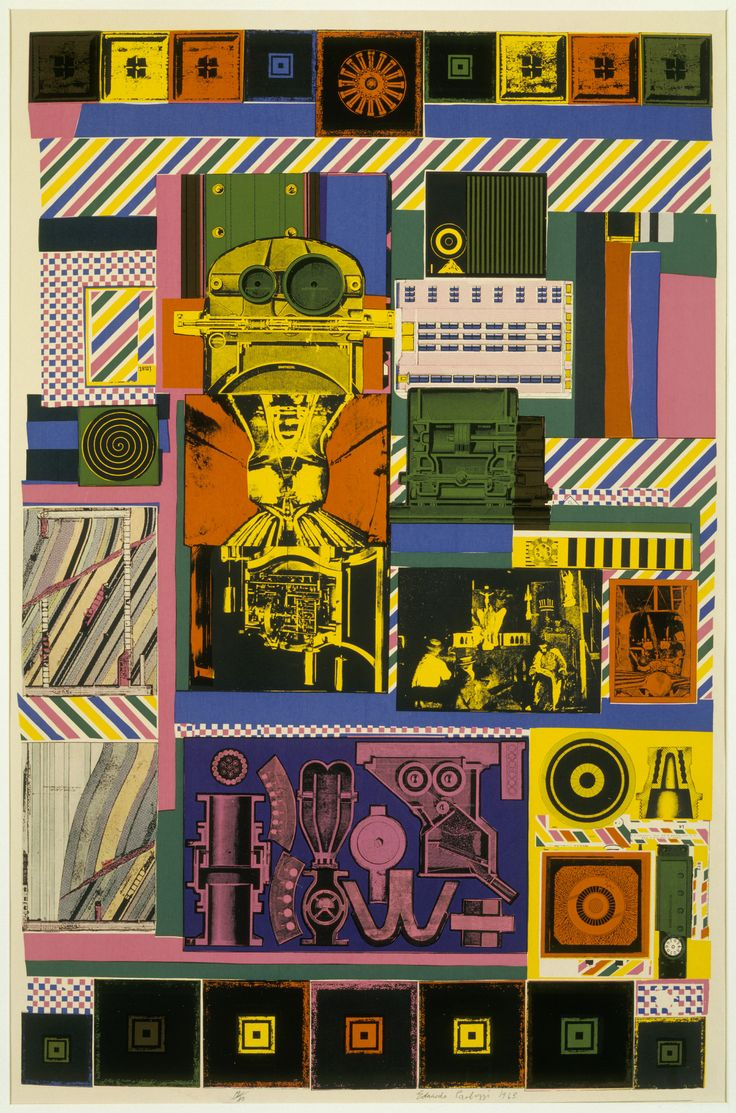 One of Eduardo Paolozzi's collage pieces, with his signature striking use of colour and pattern. (Conjectures to Identity, 1963–64; Courtesy British Council Collection)