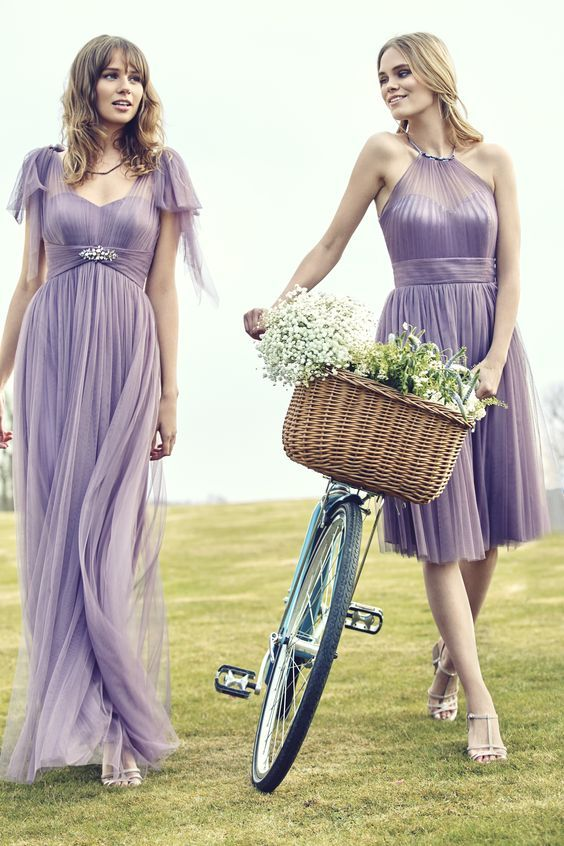 Midnight Lilac tulle rustic garden bridesmaid dresses / http://www.deerpearlflowers.com/ideas-for-rustic-outdoor-wedding/