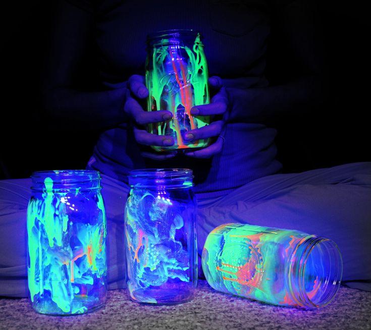 Glow in the Dark jars, glow in black light, with just splattered glow in the dark paint
