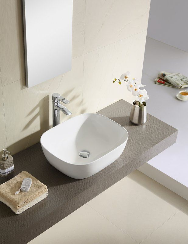 Vitreous China Square Vessel Bathroom Sink Sink Modern Bathroom