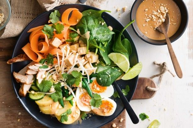 This traditional Indonesian salad is a mix of raw and cooked vegetables, tofu, eggs, chicken and spicy peanut sauce.