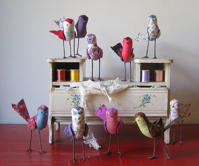 Ann Wood handmade - her birds & spiders are made from the most beautiful remnants and vintage garments. I will own one of her pieces some day!