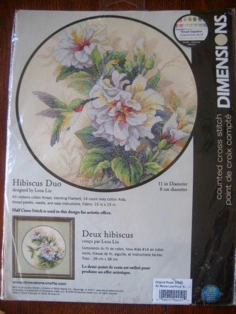 Dimensions Counted Cross Stitch Kit Hibiscus Duo Lena Liu Hummingbird Flower NEW #Dimensions #Frame