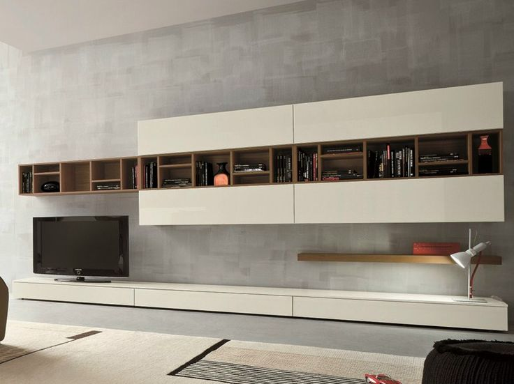 Ensemble mural composable avec support tv SLIM 16 by Dall'Agnese design Imago Design, Massimo Rosa