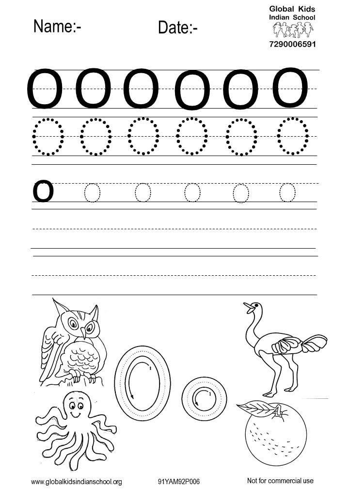 Free Printable Worksheet For Nursery Class Kids Worksheets Printables,  Free Printable Worksheets, Letter O Worksheets