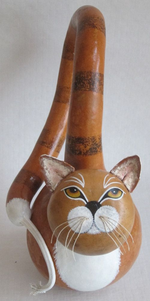 Perky Gourd Cat by GourdArtbyCyndee on Etsy