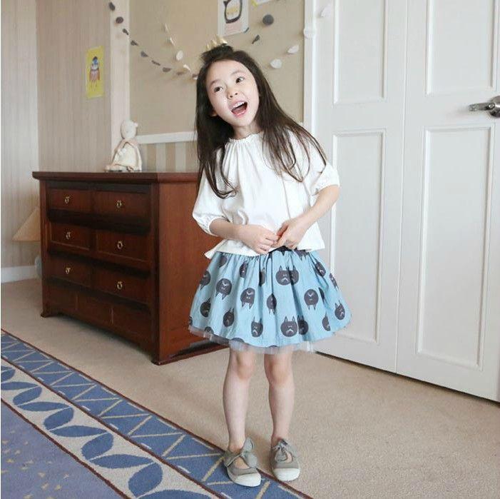 New girl 2pcs clothing set half sleeve T-shirt +bubble tutu skirt cat print children dress suits high quality 2014 spring summer
