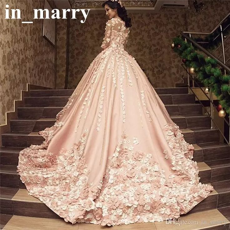 231 best a line wedding dresses images on pinterest wedding luxury pink arabic design wedding dresses 2017 a line 34 long sleeves 3d floral beaded plus size princess kaftan muslim dubai bridal gowns junglespirit Image collections