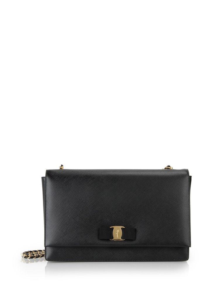 salvatore ferragamo Black Leather 'Ginny' Shoulder Bag Black