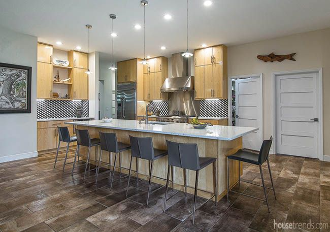 Oversized kitchen island with seating