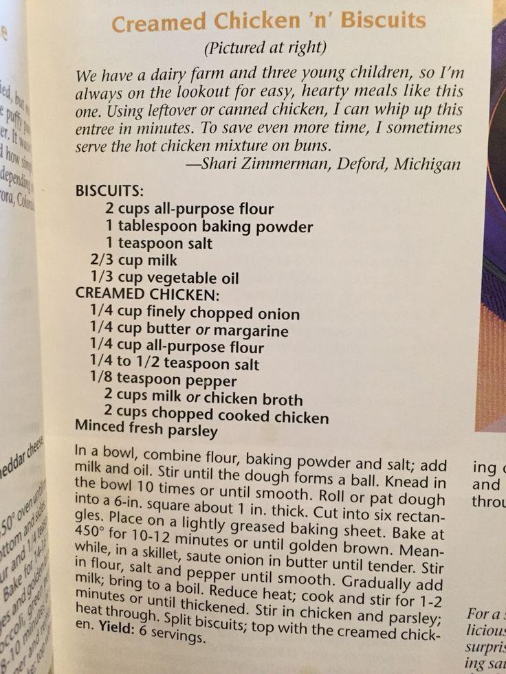 Creamed Chicken or Turkey over Biscuits