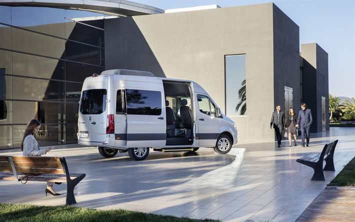 Download wallpapers Mercedes-Benz Sprinter Tourer, 2018, 4k, exterior, side view, business minivans, new white Sprinter, German cars, Mercedes