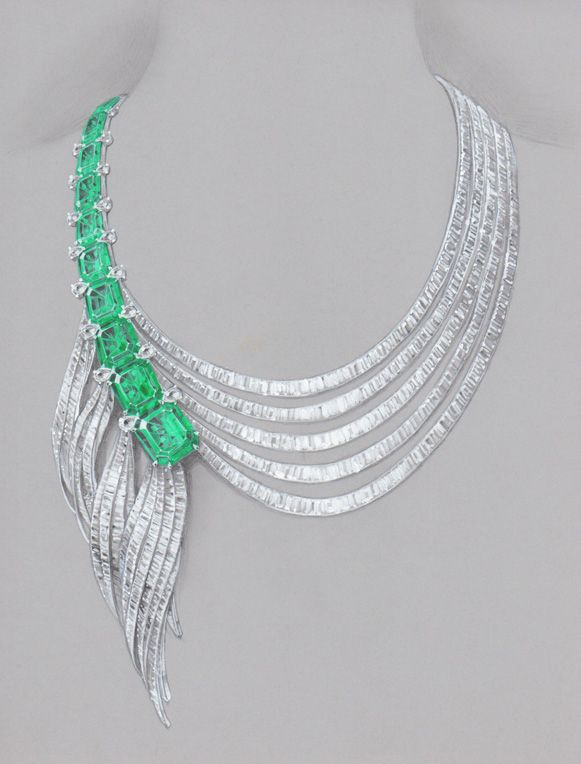 Asymmetric emerald necklace  /pencil, warter color and marker  by WOOAKIM