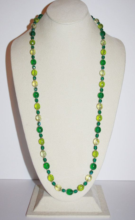 Joan Rivers Green Beaded Necklace 32 Inches     by SCLadyDiJewelry