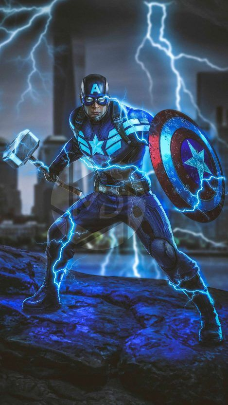 Captain America with Thor Hammer Avengers Endgame iPhone Wallpaper