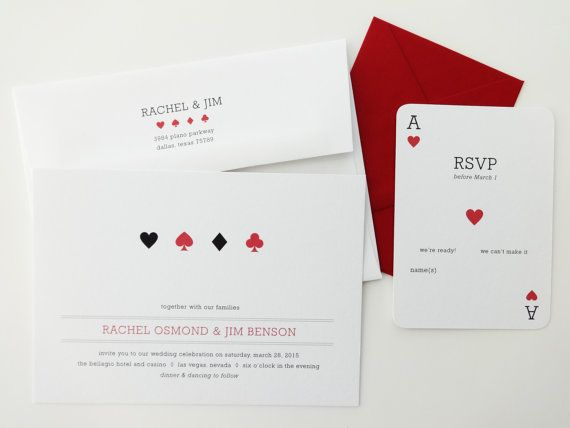 Las Vegas Wedding Invitations / Casino Wedding Invitations / Rehearsal Dinner / Wedding Announcement / Wedding Invite / Playing Cards Invite on Etsy, 37,14 €