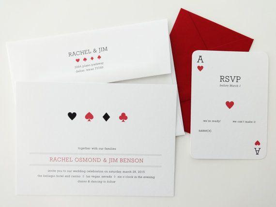 Las Vegas Wedding Invitations / Casino Wedding Invitations / Rehearsal Dinner / Wedding Announcement / Wedding Invite / Playing Cards Invite on Etsy, 37,14€