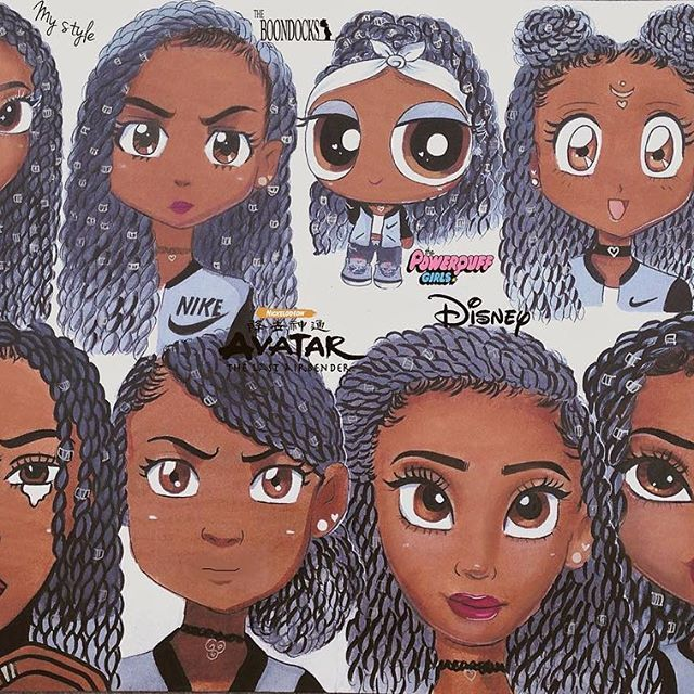 So I was meant to finish this long time ago but my copic markers ran out of ink and that put me back  Anyways here's part 5 I think...  which one is your favorite? #stylechallenge #characterdesign #illustration #cartoon #cartoonart #twists #boondocks #powerpuffgirls #sailormoon #roylichtenstein #avatar #disney #bratz #copicmarkers