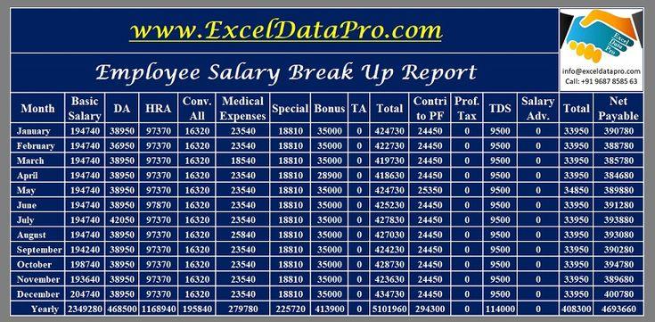 Download salary breakup report excel template