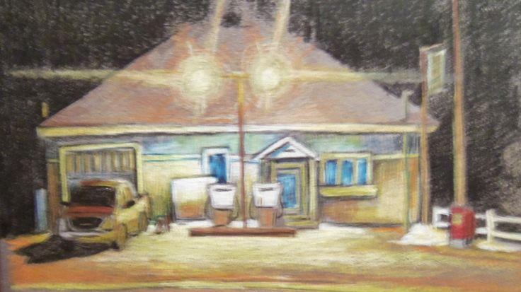 Store.....alone. ( Kauffeldt's Store, Quadeville) 6x8 colored pencil drawing on dark grey paper. An exercise in values.