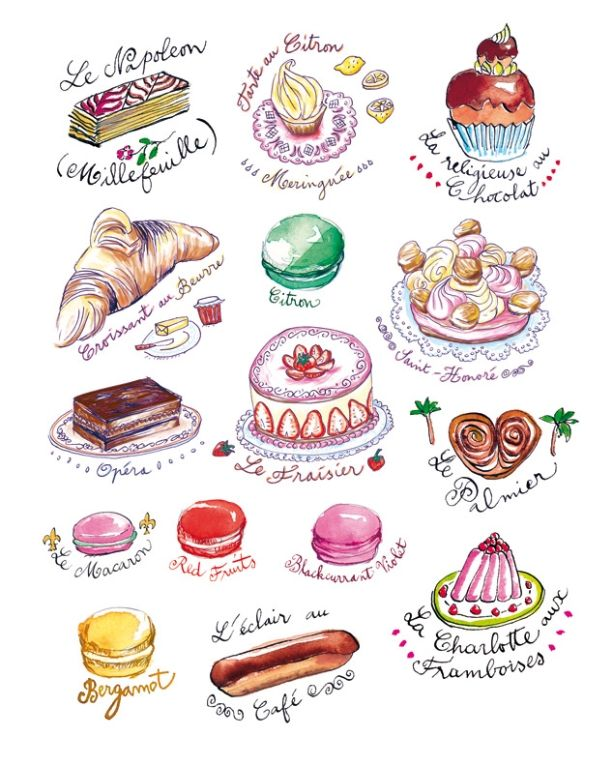 35 delicious food illustrations cakes names and sayings for Art de la cuisine francaise