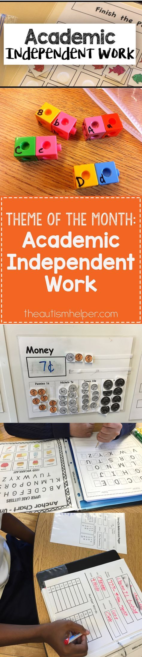 Last month's data-collecting goals still ring true, but this month we're focusing on academic independent work. Find out why we love these skills on the blog!! From theautismhelper.com #theautismhelper