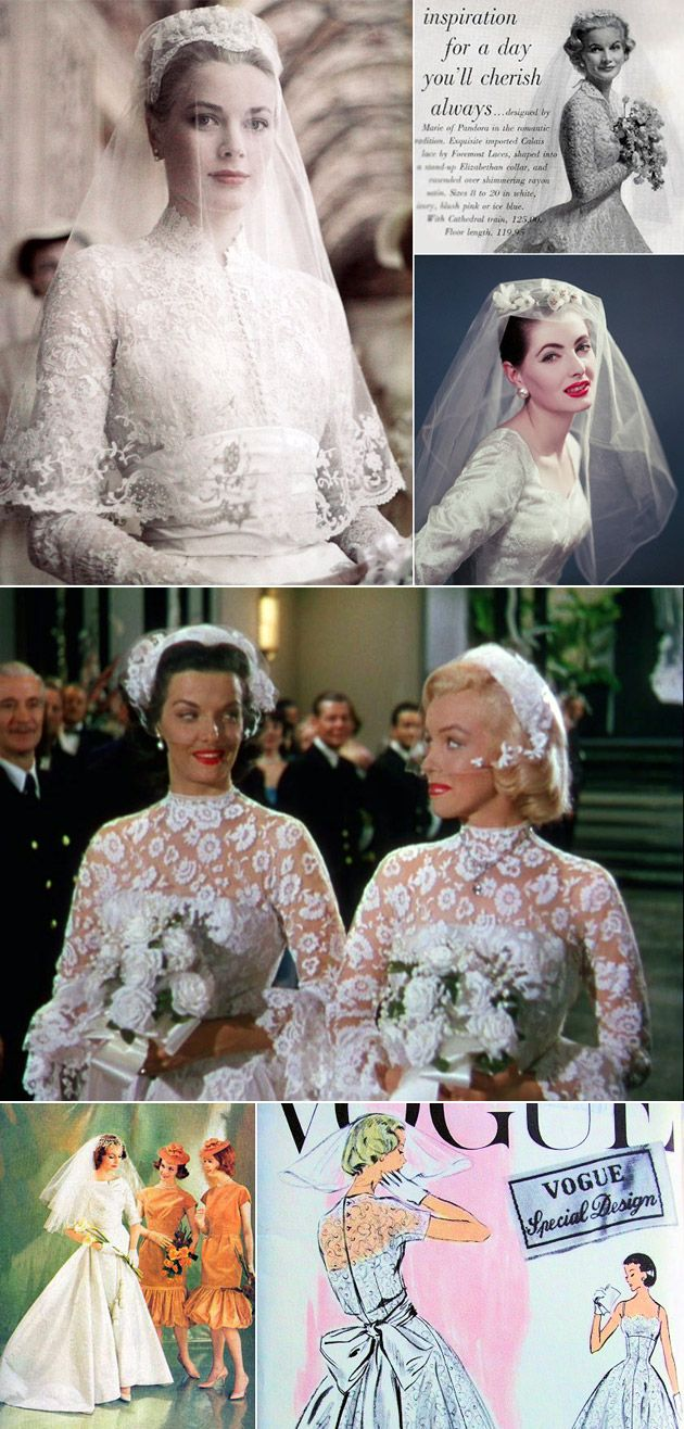 1950s wedding headpieces | 1950s Wedding Gowns & Veils