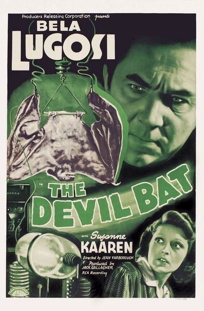 POSTER - THE DEVIL BAT - The Devil Bat; 1940; Jean Yarbrough; Bela Lugosi; Suzanne Kaaren; Dave O\'Brien; Guy Usher; Yolande Donlan; Yolande Mallott; Donald Kerr; Edmund Mortimer; Edward Mortimer; Gene O\'Donnell; Alan Baldwin; John Ellis; Arthur Q. Bryan; Hal Price; John Davidson; Billy Griffith; Wally Rairden; Wally Rairdon; animal film; beast; bat;