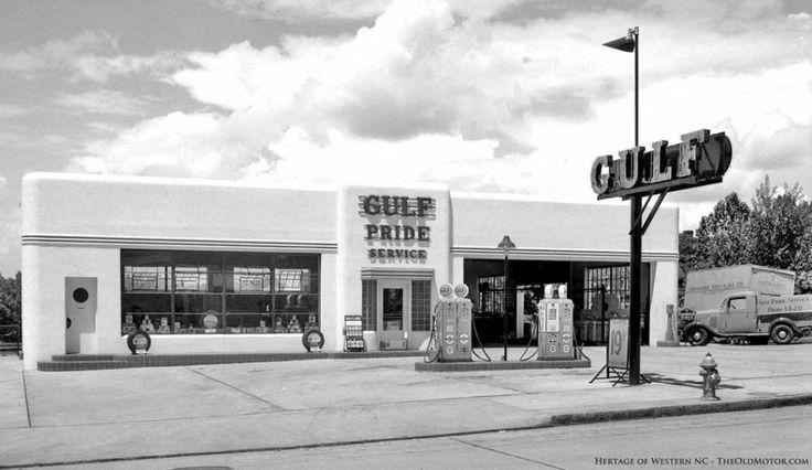 Architecture Art Moderne pour cette station Gulf à Asheville en Caroline du Nord