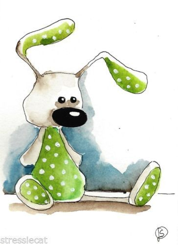 ACEO Original Watercolor Painting Folk Art Illustration Whimsical Green Bunny | eBay