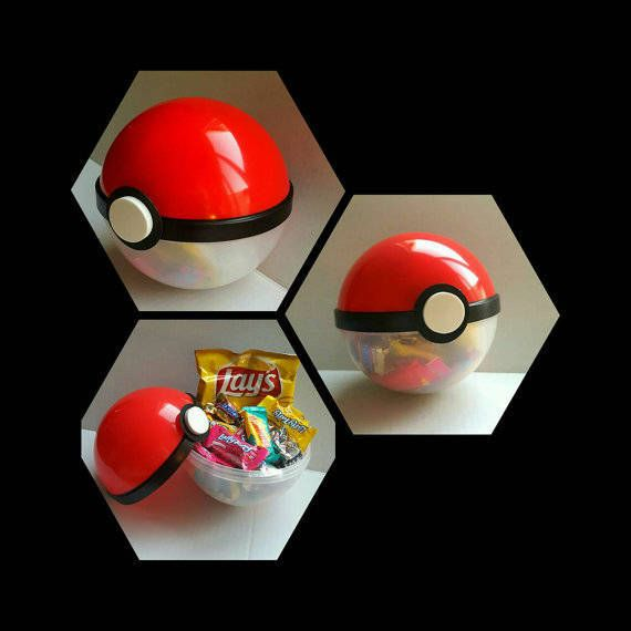 ** POKEMON THEMED PARTY** 10 POKEBALL, HANDMADE FAVOR CONTAINERS!! Perfect for your POKEMON theme party. Fill them with candies and they ready to use them on your next Party. Kids going to love them!! Plastic Container. Size: 19 circumference 6 diameter *Please specify date of event