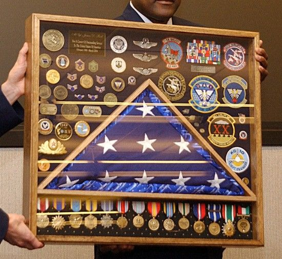 The Medals On Display In My Retirement Shadow Box