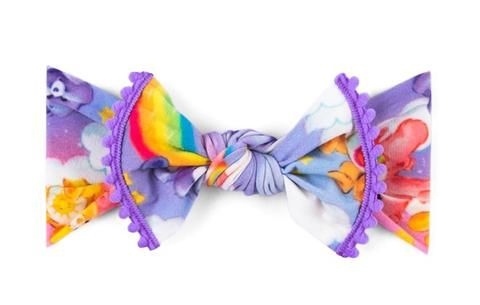 Lilac Rainbow Baby Bling Care Bear Pom Trimmed Knot Headband