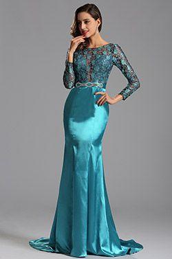 Lang Ärmel Illusion Spitze Mieder Blau Abendkleid (X02152932) #Abendkleid #Ballkleid #eDressit #Mode