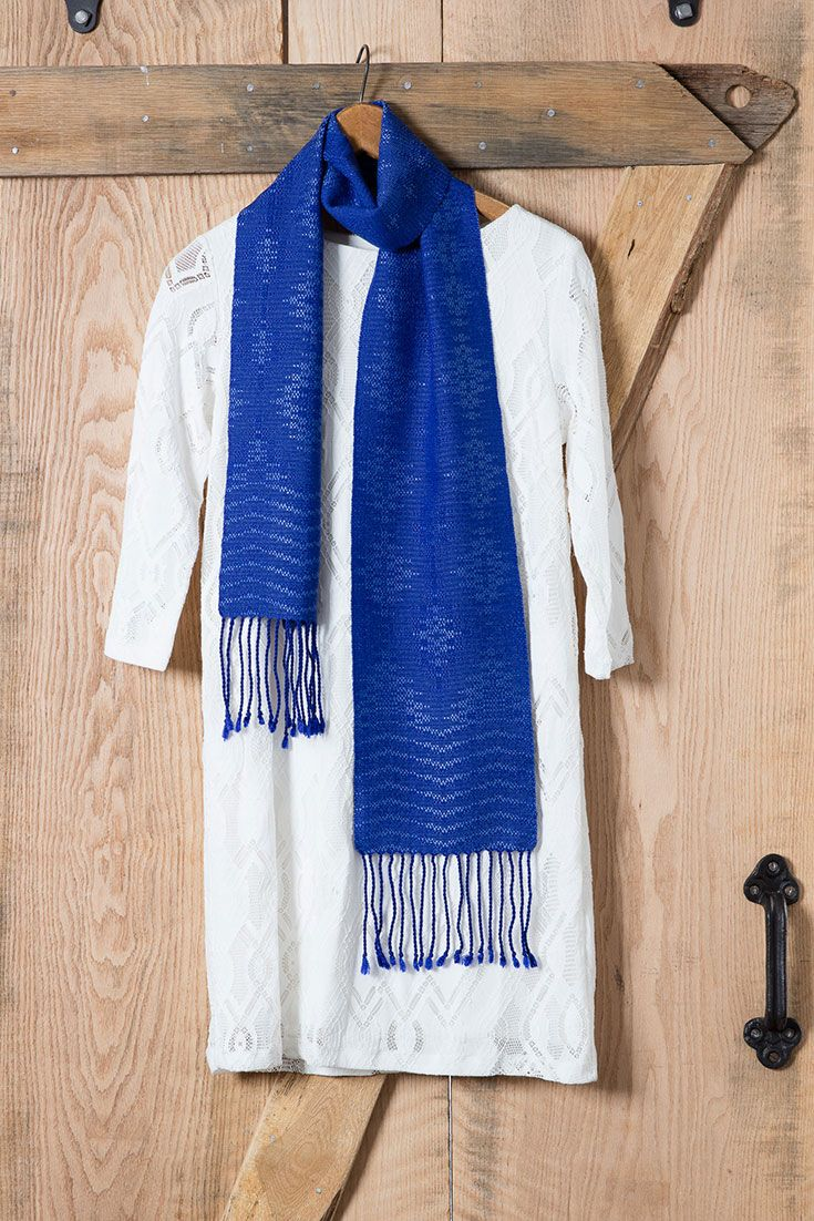 """Sarah Jackson's """"Ebb and Flow Crackle Scarf"""" from Handwoven March/April 2017 was woven on an 8-shaft loom. Crackle weave was introduced to Americans by Mary Meigs Atwater during WWI. She found a Swedish pattern called Jamtlandsvaev, and the background reminded her of the crackled pattern on some favorite pottery. It makes a gorgeous handwoven scarf!"""