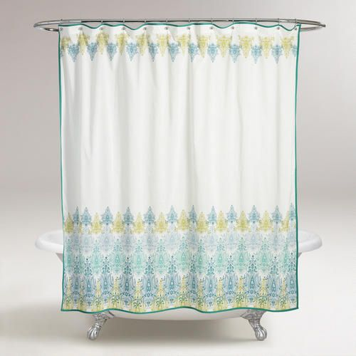 LAUNDRY ROO,?  One of my favorite discoveries at WorldMarket.com: Blue/Green Print Shower Curtain