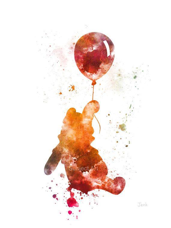 Ilustración de la lámina de Winnie the Pooh, Disney, globo, arte de la pared, decoración del hogar