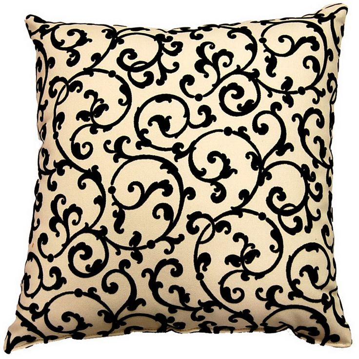 Great for any room, these pillows feature a striking black flocked scrolling pattern on an cream base. These square pillows come in a set of two (2).